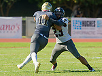 Palos Verdes, CA 09-07-18 - Wyatt Chang (Peninsula #11) and Billy Dwyer (Torrance #23) in action during the Torrance - Palos Verdes Peninsula Varsity football game.