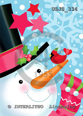 Janet, CHRISTMAS SANTA, SNOWMAN, paintings, USJS334,#x#