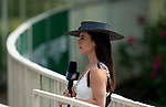 NBC anchor Britney Eurton waits to go on air at Belmont race track in Elmont, New York, USA, 20 June 2020. The Belmont is being run without fans due to coronavirus SARS-CoV-2 which causes the Covid-19 disease and while it has always been the third leg of the Triple Crown, due to Covid-19 it is, instead the first leg in 2020.