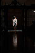 13 September 2013, London, UK. A model walks the runway at the Bernard Chandran fashion show during London Fashion Week at Fashion Scout/Freemason's Hall. Photo: Bettina Strenske