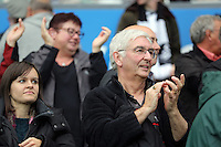 Pictured: Swansea supporters applaud their team's win after the end of the game Sunday 30 August 2015<br /> Re: Premier League, Swansea v Manchester United at the Liberty Stadium, Swansea, UK