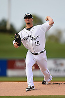 Lakeland Flying Tigers pitcher Jordan John (19) during a game against the Brevard County Manatees on April 10, 2014 at Joker Marchant Stadium in Lakeland, Florida.  Lakeland defeated Brevard County 6-5.  (Mike Janes/Four Seam Images)