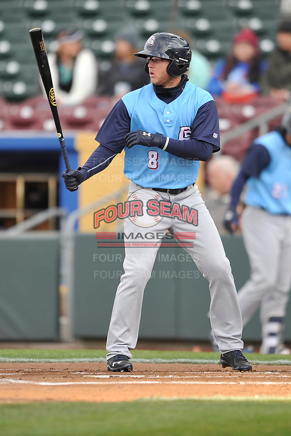 Colorado Springs Sky Sox right fielder Brett Phillips (8) in action against the Omaha Storm Chasers at Werner Park on April 5, 2018 in Omaha, Nebraska. The Sky Sox won 3-1.  (Dennis Hubbard/Four Seam Images)