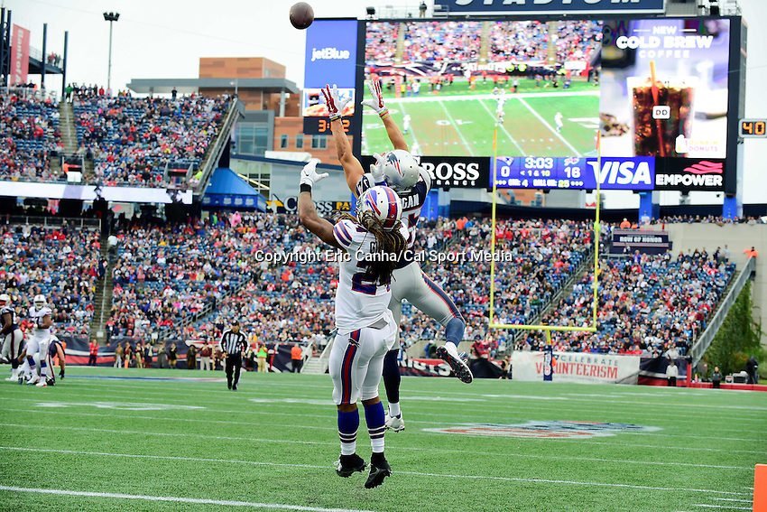 Sunday, October 2, 2016: New England Patriots wide receiver Chris Hogan (15) goes up to make a catch while being covered by Buffalo Bills cornerback Stephon Gilmore (24) during the NFL game between the Buffalo Bills and the New England Patriots held at Gillette Stadium in Foxborough Massachusetts. Buffalo defeats New England 16-0. Eric Canha/Cal Sport Media