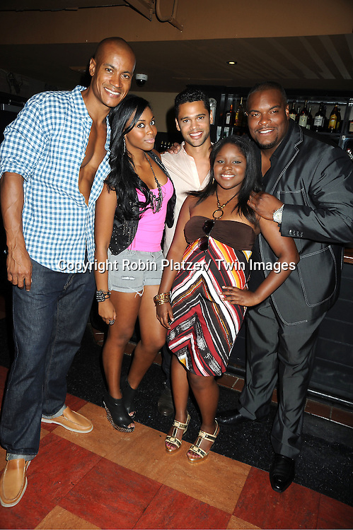 One Life to Live group shot, Max Tapper, Nafessa Williams, Barret Helms, Shenell Edmonds  and Sean Ringgold,  attending the 5th Annual Sean Ringgold Fan Club Party on August 12, 2011 at HB Burger's Sunken Bar in New York City.