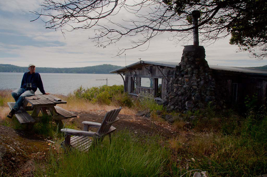 Caretaker Phil Green and House, Yellow Island, San Juan Islands, Washington, US