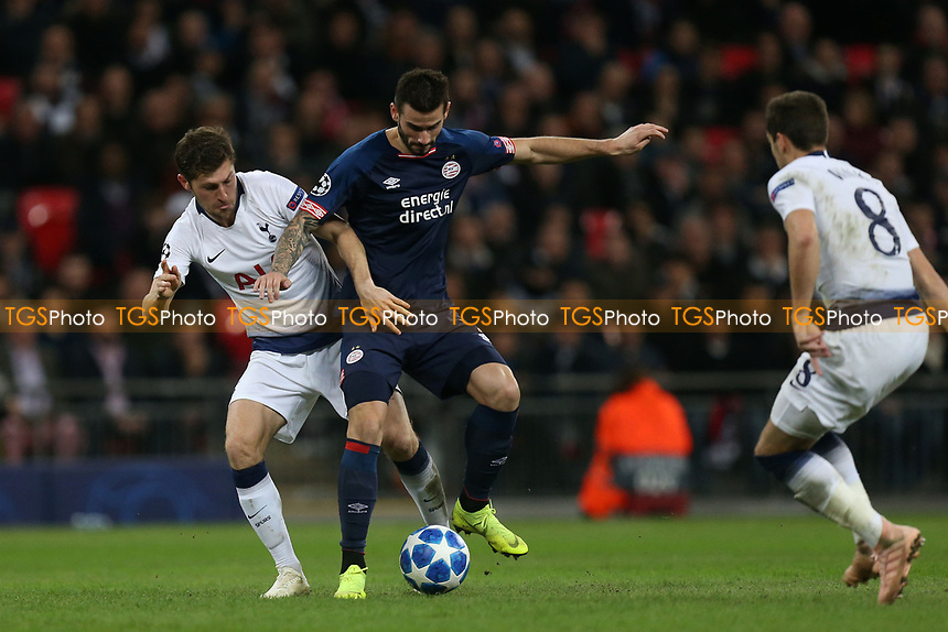 Ben Davies of Tottenham Hotspur and Gaston Pereiro of PSV Eindhoven during Tottenham Hotspur vs PSV Eindhoven, UEFA Champions League Football at Wembley Stadium on 6th November 2018