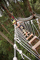 Walking across bridge Ziplining on the Big island with Kohala zipline
