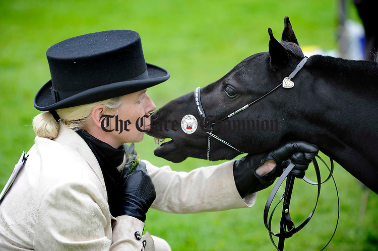Carolyn Hotson with her miniature pony at the Clare County Show in Ennis. Photograph by John Kelly.