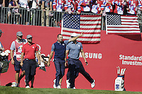 Sergio Garcia  (Team Europe)  on the 1st tee during the Friday afternoon Fourball at the Ryder Cup, Hazeltine national Golf Club, Chaska, Minnesota, USA.  30/09/2016<br /> Picture: Golffile | Fran Caffrey<br /> <br /> <br /> All photo usage must carry mandatory copyright credit (&copy; Golffile | Fran Caffrey)