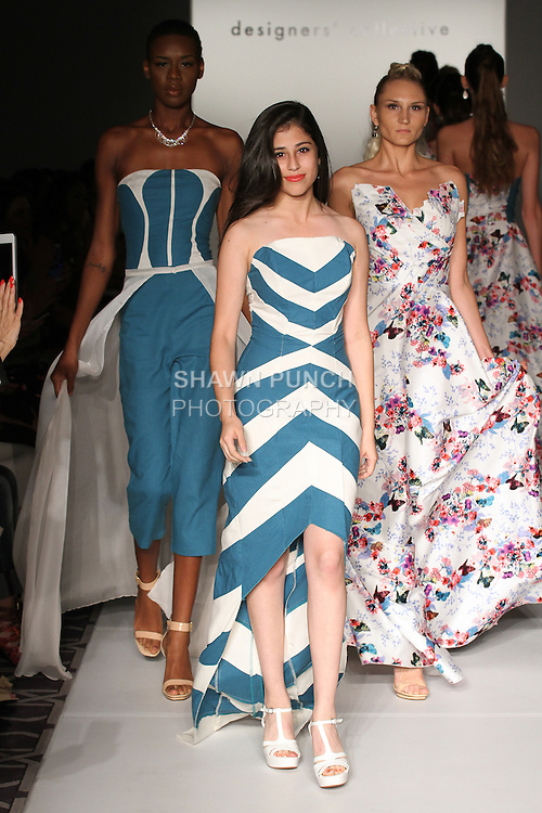 Fashion designer Abby Alba walks runway with models at the close of her Skyblue by Abby Alba Spring Summer 2017 collection fashion show, for the Designer's Collective Spring Summer 2017 fashion show during Fashion Gallery New York Fashion Week Spring Summer 2017 on September 10, 2016.