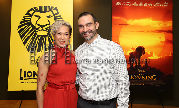 "Javier Muñoz and guest attends the Broadway screening of the Motion Picture Release of ""The Lion King"" at AMC Empire 25 on July 15, 2019 in New York City."