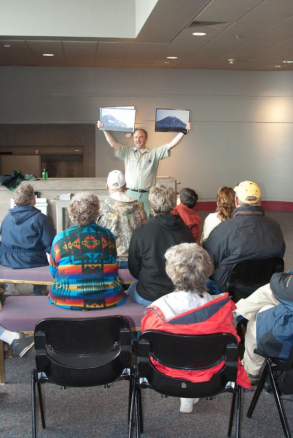 Ranger Talk at Johnston Ridge Observatory,  Mt. St. Helens National Volcanic Monument, Washington, US
