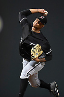 Starting pitcher Blake Hickman (33) of the Kannapolis Intimidators delivers a pitch in Game 3 of the South Atlantic League Championship series against the Greenville Drive on Thursday, September 14, 2017, at Fluor Field at the West End in Greenville, South Carolina. Kannapolis won, 5-4. Greenville leads the series 2-1. (Tom Priddy/Four Seam Images)