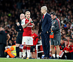 Arsenal's Jack Wilshere with Arsene Wenger during the Carabao Cup Third Round match at the Emirates Stadium, London. Picture date 20th September 2017. Picture credit should read: David Klein/Sportimage