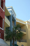 Multicolored and multistory architectural design marks this area of the Florida Panhandle.
