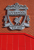 17th March 2018, Anfield, Liverpool, England; EPL Premier League football, Liverpool versus Watford; a view of the Liverpool FC club crest above the steps to the entrance of the main stand