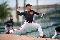 GCL Orioles pitcher J.J. Montgomery (57) during a Gulf Coast League game against the GCL Braves on August 5, 2019 at Ed Smith Stadium in Sarasota, Florida.  GCL Orioles defeated the GCL Braves 4-3 in the second game of a doubleheader.  (Mike Janes/Four Seam Images)