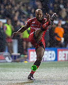 22nd March 2018, Select Security Stadium, Widnes, England; Betfred Super League rugby, Widness Vikings versus Salford Red Devils; Robert Lui missed this second half penalty in the driving snowstorm