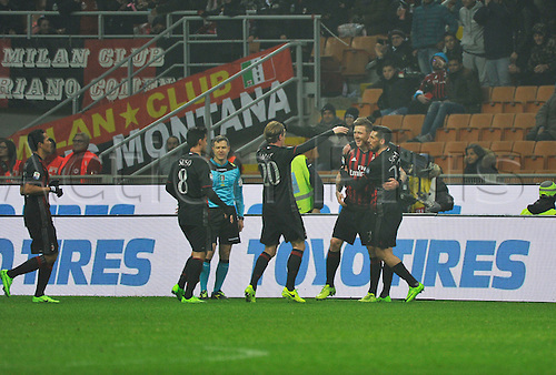 February 19th 2017, San Siro, Milan, Italy; Kucka of Milan celebrate the Goal  with teammates in the 16th minute during  Serie A football, AC Milan versus Fiorentina;