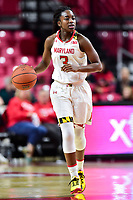 College Park, MD - NOV 21, 2017: Maryland Terrapins guard Channise Lewis (3) brings the ball up court during the game between the Howard Lady Bison and the Maryland Terrapins at the XFINITY Center in College Park, MD.  (Photo by Phil Peters/Media Images International)