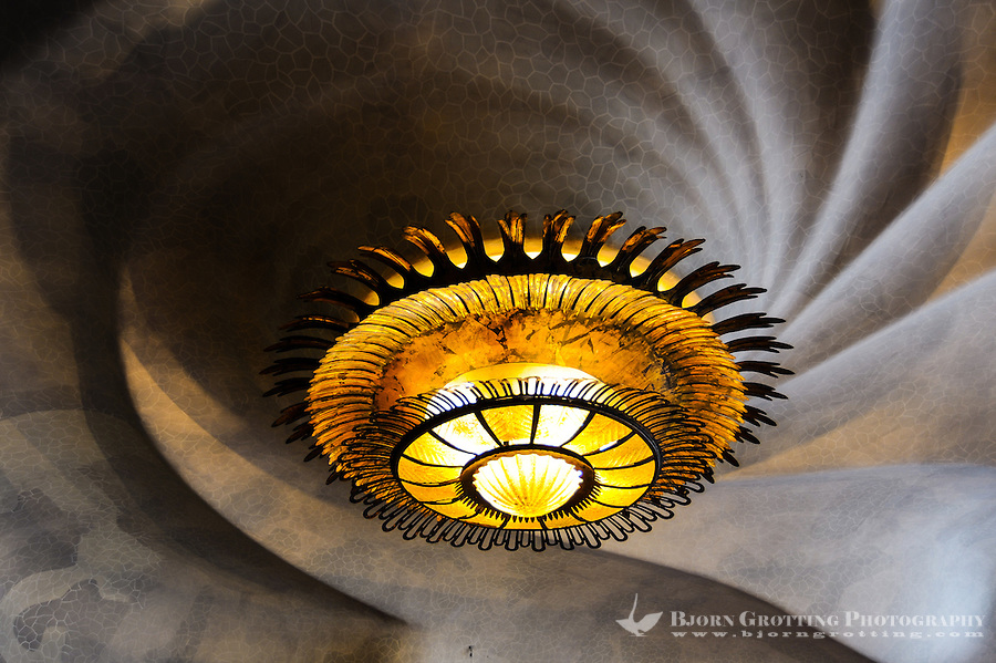 Spain, Barcelona. Casa Batlló is one of Antoni Gaudí's masterpieces. Ceiling close-up