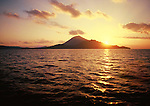 Sunset over islands of the Banda Archipelago, Maluku, Indonesia