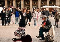 Flamenco dancer in the Plaza Mayor, Madrid, Spain