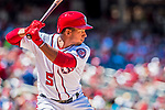 30 July 2017: Washington Nationals infielder Adrian Sanchez in action against the Colorado Rockies at Nationals Park in Washington, DC. The Rockies defeated the Nationals 10-6 in the second game of their 3-game weekend series. Mandatory Credit: Ed Wolfstein Photo *** RAW (NEF) Image File Available ***