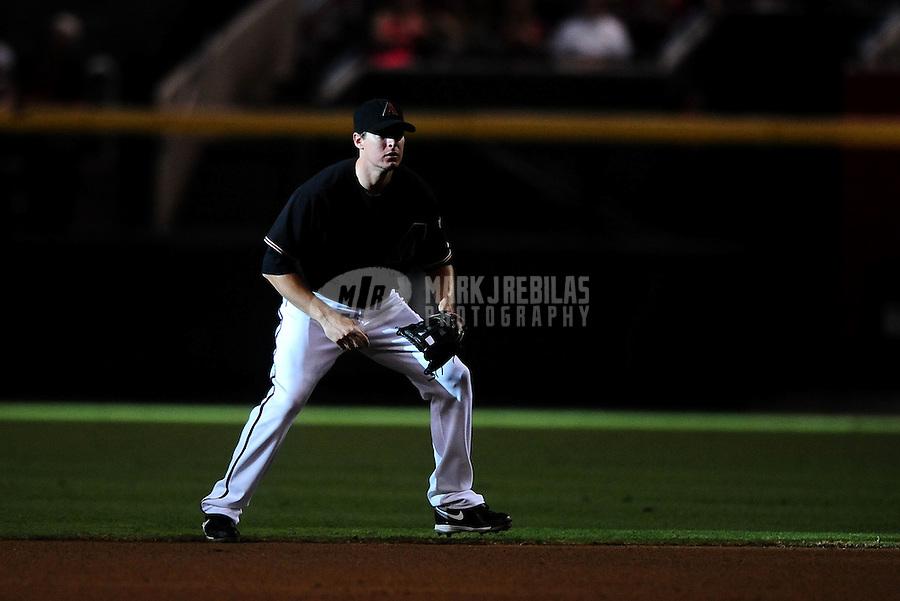 Jul. 24, 2010; Phoenix, AZ, USA; Arizona Diamondbacks second baseman Kelly Johnson in the fourth inning against the San Francisco Giants at Chase Field. Mandatory Credit: Mark J. Rebilas-