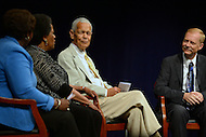 Washington, DC - June 5, 2013: Civil rights activists Julian Bond (c) and Jerry Mitchell (r) listen as Mrylie Evers (2nd, l) shares a personal experience during a panel discussion at the Newseum on the 50th anniversary of assassination of civil rights activist Medgar Evers, June 5, 2013. The discussion was moderated by Gwen Ifill (l). (Photo by Don Baxter/Media Images International)