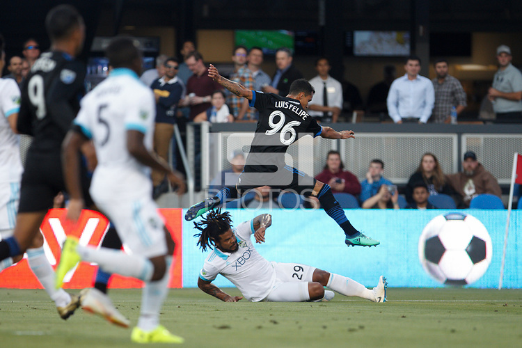 San Jose, CA - Wednesday July 25, 2018: Luis Felipe, Román Torres during a Major League Soccer (MLS) match between the San Jose Earthquakes and the Seattle Sounders FC at Avaya Stadium.