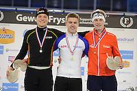 SCHAATSEN: HEERENVEEN: 03-02-2017, KPN NK Junioren, Podium Junioren C Heren 500m, Daan Spruit, Stefan Westenbroek, Jarle Gerrits, ©foto Martin de Jong