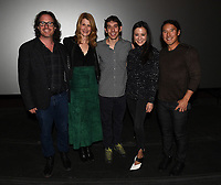"""Los Angeles - JANUARY 8: Davis Guggenheim, Alex Honnold,Laura Dern, Laura Dern, Alex Honnold and directors Elizabeth Chai Vasarhelyi, and Jimmy Chin attend an IMAX screening of National Geographic's """"Free Solo"""" at the AMC Century City 15 on January 8, 2019 in Los Angeles, California. (Photo by Frank Micelotta/National Geographic/PictureGroup)"""