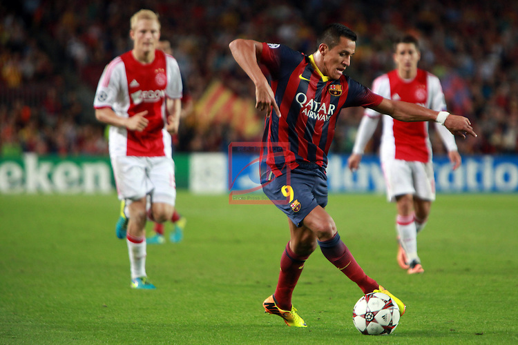 UEFA Champions League 2013/2014.<br /> FC Barcelona vs AFC Ajax: 4-0 - Game: 1.<br /> Alexis Sanchez.