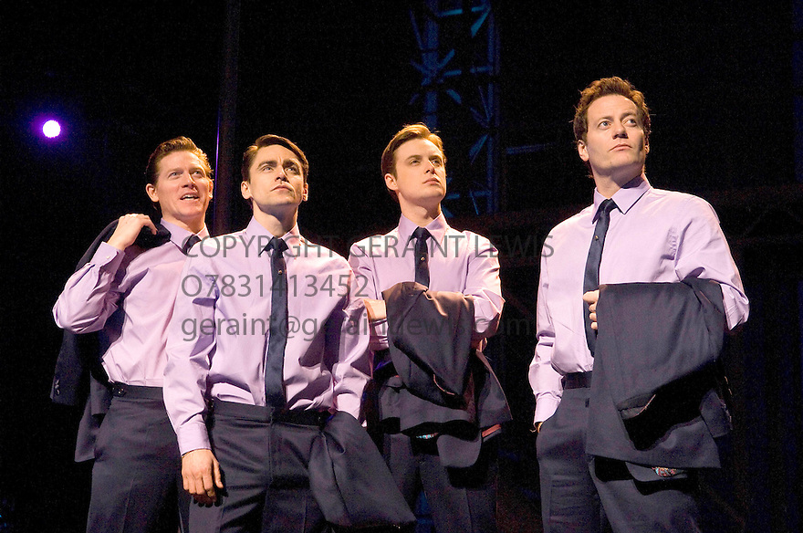 Jersey Boys. Book by Marshall Brickman and Rick Elice,Music by Bob Gaudio,Lyrics by Bob Crewe.Directed by Des McAnuff.With Ryan Molloy as Frankie Valli, Stephen Ashfield as Bob Gaudio, , Philip Bulcock as Nick Massi, Glenn Carter as Tommy DeVito . Opens at The Prince Edward Theatre  18/3/08. CREDIT Geraint Lewis