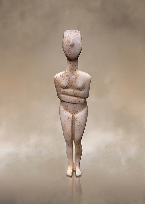 Female figurine statuette : Cycladic Canonical type, Kapsala variety. Early Cycladic Period II, (2800-2300 BC), ' Museum of Cycladic Art Athens.