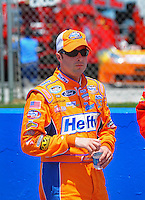 Apr 25, 2009; Talladega, AL, USA; NASCAR Nationwide Series driver Eric McClure prior to the Aarons 312 at the Talladega Superspeedway. Mandatory Credit: Mark J. Rebilas-