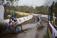 Caroline Mani (FRA) first through the puddle ahead of Sanne Cant (BEL)<br /> <br /> Elite Women's race<br /> UCI 2016 cyclocross World Championships