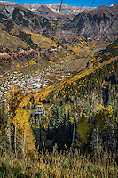 The mountain resort town of Telluride Colorado offers a free arial tram to the top of the mountain for a grea view.