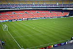 30 October 2004: The east bowl at RFK Stadium. The lower section (red seats) roll around to the north side of the bowl to form the third base line when the stadium is configured for baseball. DC United defeated the MetroStars 2-0 at RFK Stadium in Washington, DC in the second leg of their Major League Soccer Eastern Conference Semifinal playoff series. United eliminated the MetroStars 4-0 on aggregate goals..