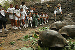 School chidren visitDarwin research center on Isabela island and are looking at the giant turtle, the mythic symbol of this archipelago appeared in the Pacific only five millions years ago<br />