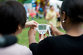 Westminster PCT blood pressure checks at a health stall at Westbourne Festival, Paddington, London.