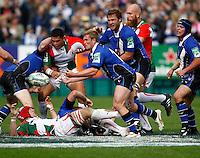 Photo: Richard Lane/Richard Lane Photography. Bath Rugby v Biarritz Olympique. Heineken Cup. 10/10/2010. Bath's Michael Claassens passes.