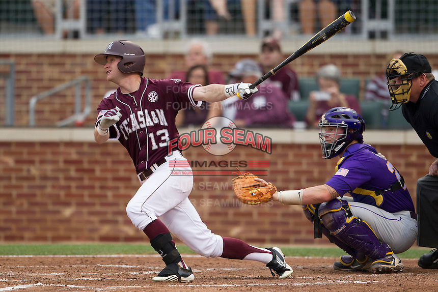 Texas A&M Aggies outfielder Krey Bratsen (13) follows through on his swing against the LSU Tigers in the NCAA Southeastern Conference baseball game on May 10, 2013 at Blue Bell Park in College Station, Texas. LSU defeated Texas A&M 7-4. (Andrew Woolley/Four Seam Images).