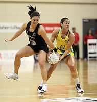 01.09.2010 Silver Ferns Temepara George and Australian Mo'onia Gerrard in action during the Silver Ferns v Australia New World netball test match in Wellington. Mandatory Photo Credit ©Michael Bradley.
