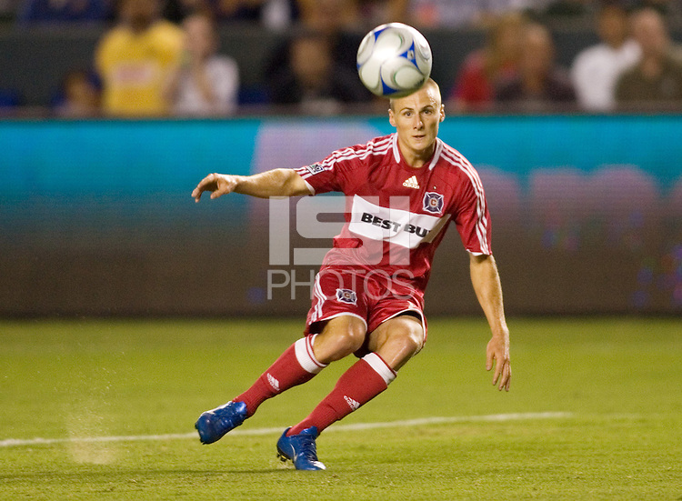 Chicago Fire forward Chris Rolfe (17) sends a ball into the box during a MLS match. The Chicago Fire defeated the LA Galaxy 1-0 at Home Depot Center stadium in Carson, California on Thursday, August 21, 2008.