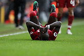 17th March 2019, Craven Cottage, London, England; EPL Premier League football, Fulham versus Liverpool; Sadio Mane of Liverpool goes down injured