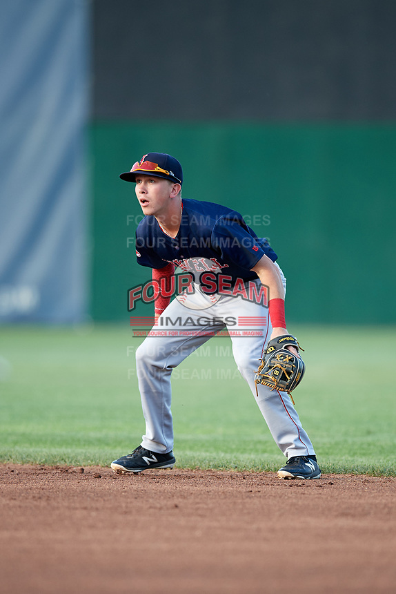Lowell Spinners second baseman Grant Williams (11) during a game against the Auburn Doubledays on July 13, 2018 at Falcon Park in Auburn, New York.  Lowell defeated Auburn 8-5.  (Mike Janes/Four Seam Images)