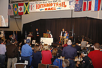 Thursday February 28, 2013  Newton Marshall speaks to the audience after drawing his postion at the musher drawing banquet held at the Dena'ina Convention Center in Anchorage two days prior to the start of Iditarod 2013...Photo (C) Jeff Schultz/IditarodPhotos.com  Do not reproduce without permission.